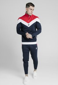 SIKSILK - RETRO QUARTER ZIP OVERHEAD TRACK  - Sweatshirt - navy/red/white - 1
