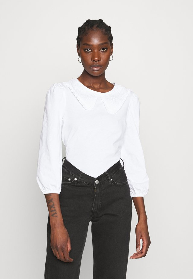 EMBROIDERED COLLAR  - Long sleeved top - white