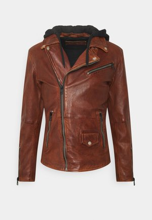 BE READY - Leather jacket - cognac