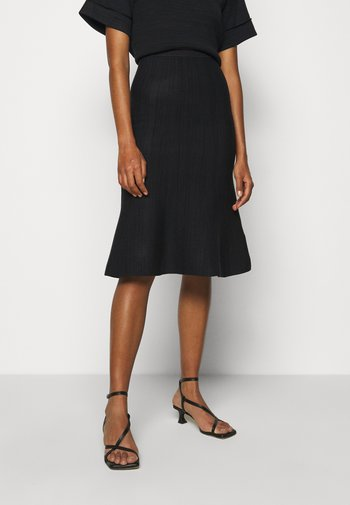 KNIT SKIRT - A-line skirt - navy melange/black