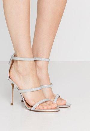 Sandalias de tacón - glitter argento/metal argento