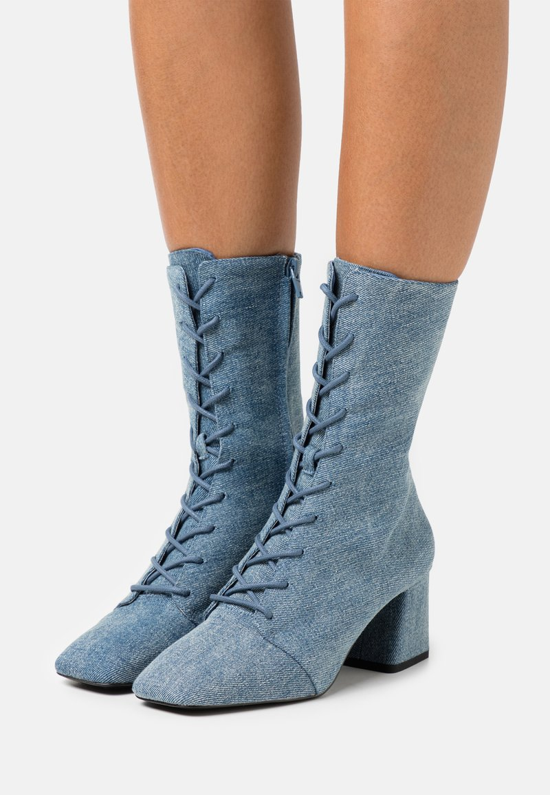 Monki - VEGAN THELMA BOOT - Lace-up ankle boots - blue denim
