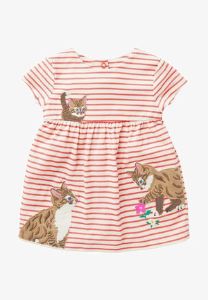MIT GROSSER APPLIKATION - Jersey dress - naturweiß/guavenrosa/ katzen