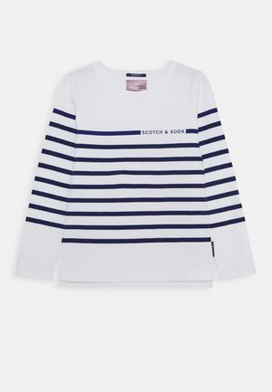 BRETON - Long sleeved top - white/blue