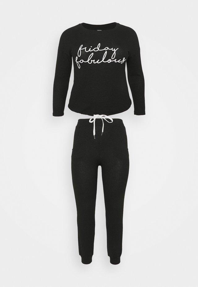 PRETTY LOUNGE DROP SHOULDER TWOSIE - Pijama - black