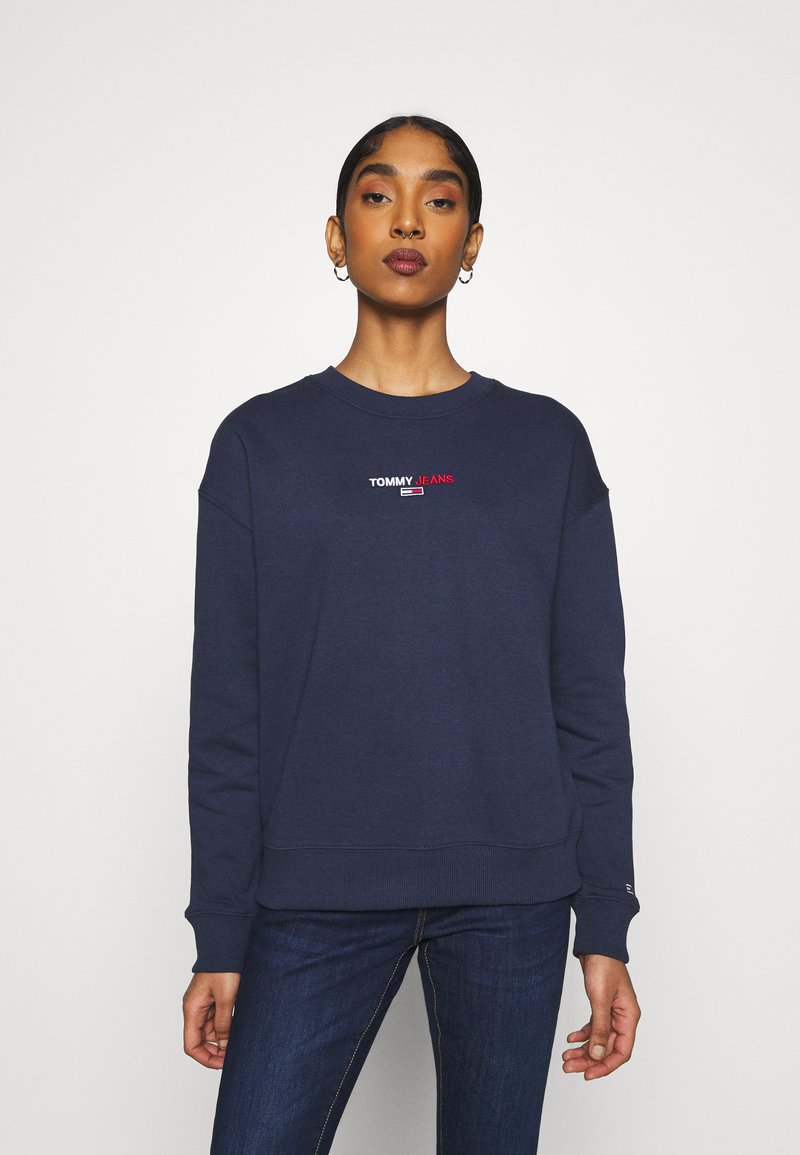 Tommy Jeans - LINEAR CREW NECK - Bluza - twilight navy