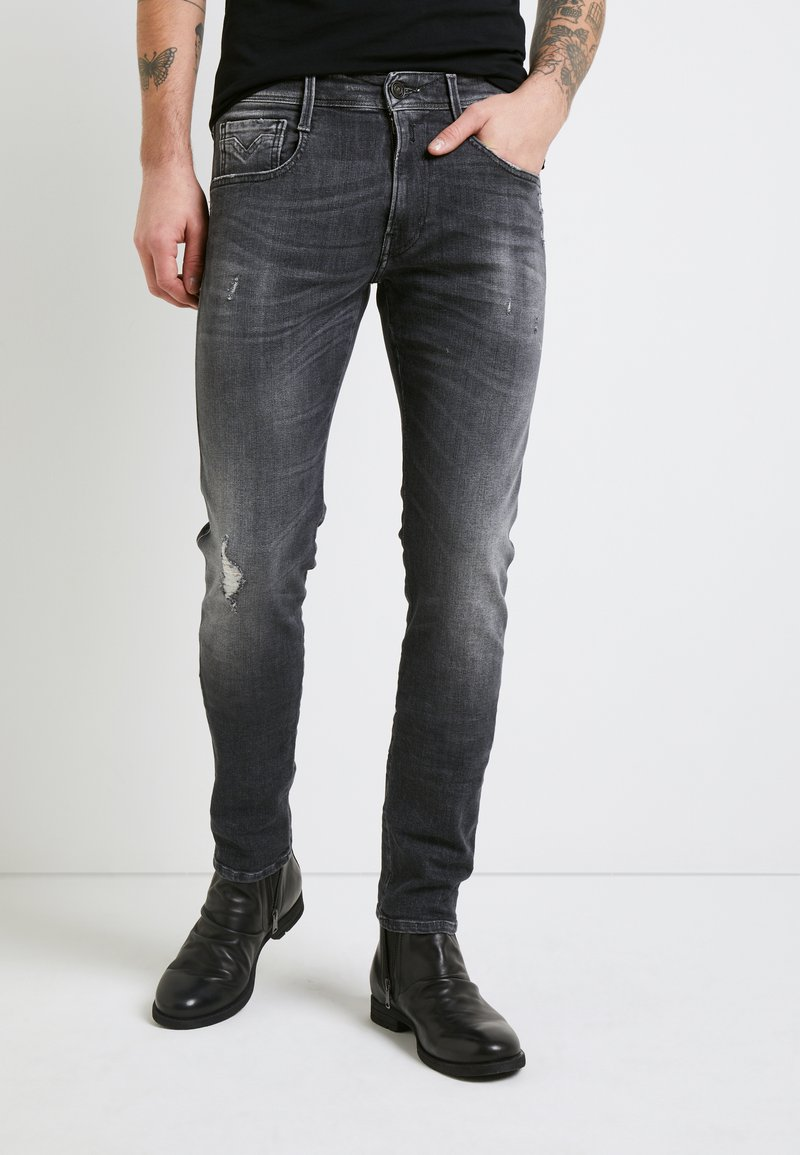 Replay - ANBASS AGED - Slim fit jeans - medium grey