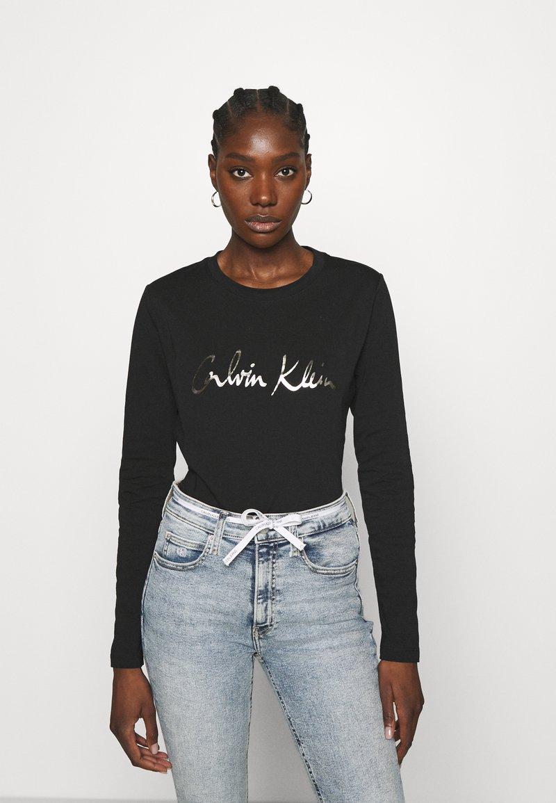 Calvin Klein - SIGNATURE - Top sdlouhým rukávem - black