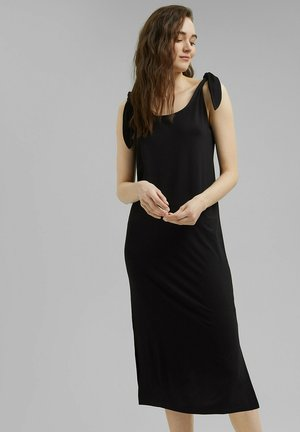 TIE DRESS - Jersey dress - black