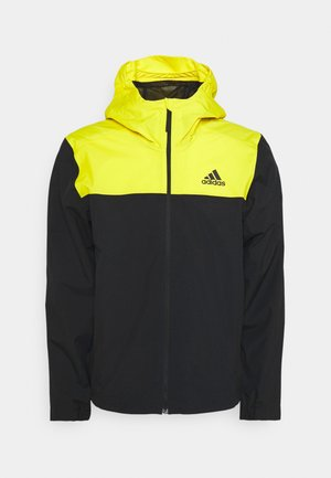 BASICS 3 STRIPES JACKET - Outdoor jacket - black/yellow