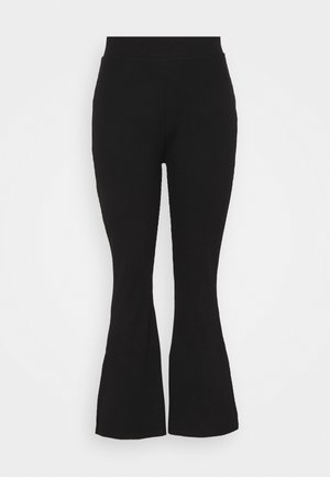 HIGH WAIST FLARE LEGGINGS - Trousers - black