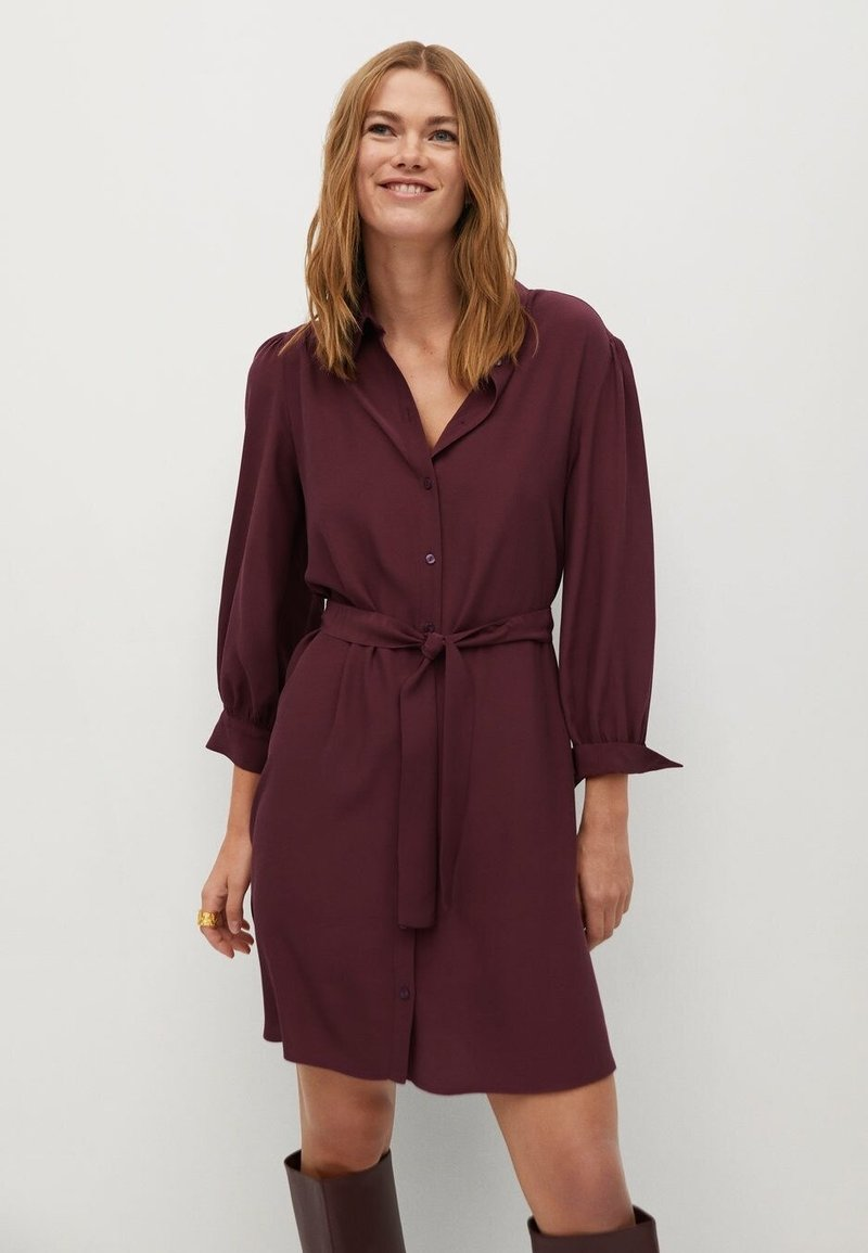 Mango - LEANDRA - Shirt dress - granátová