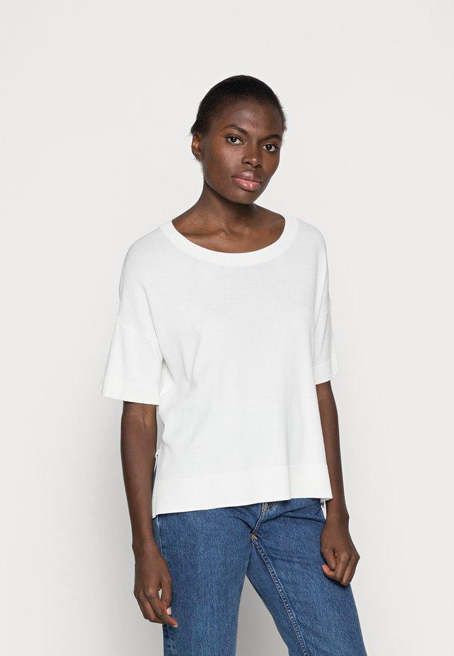 SLFWILLE O NECK - T-shirt print - snow white