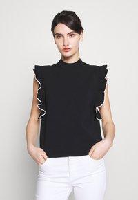 KARL LAGERFELD - COLORBLOCK RUFFLE CROP - Print T-shirt - black - 0