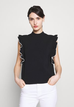COLORBLOCK RUFFLE CROP - T-shirt z nadrukiem - black