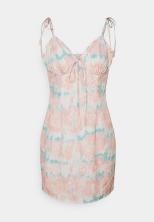 DYE TIE STRAP MINI DRESS - Vardagsklänning - pink