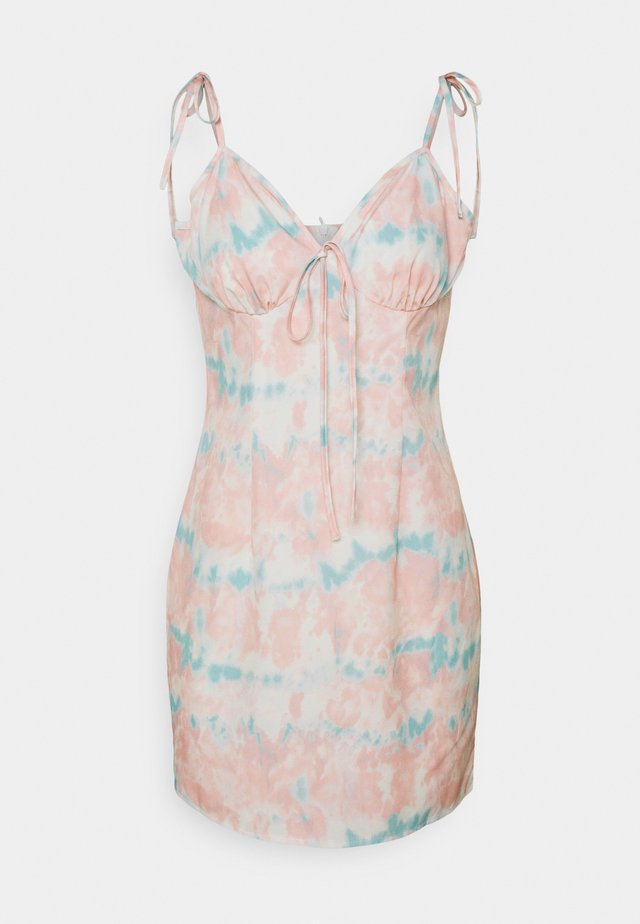 DYE TIE STRAP MINI DRESS - Day dress - pink