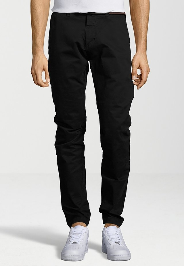 CHINO PANTS BELT STRETCH TWILL - Chinos - black