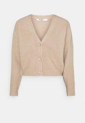 PLUNGE NECK CARDIGAN - Strickjacke - beige