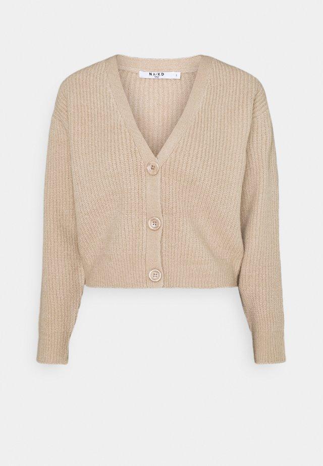 PLUNGE NECK CARDIGAN - Cardigan - beige