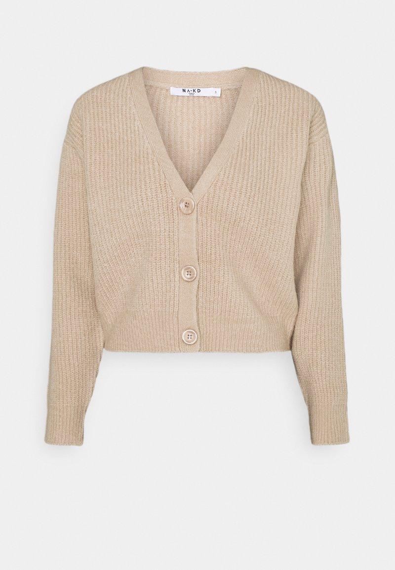 NA-KD - PLUNGE NECK CARDIGAN - Cardigan - beige