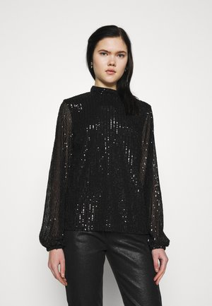 HIGH NECK SEQUIN BLOUSE - Long sleeved top - black