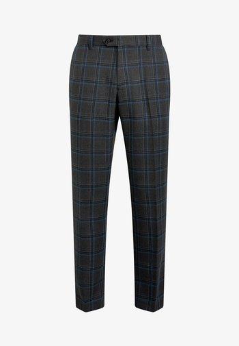 GREY/BLUE SLIM FIT CHECK TROUSERS - Kalhoty - grey