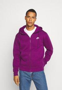 Nike Sportswear - CLUB HOODIE - Zip-up sweatshirt - viotech/viotech/white - 0
