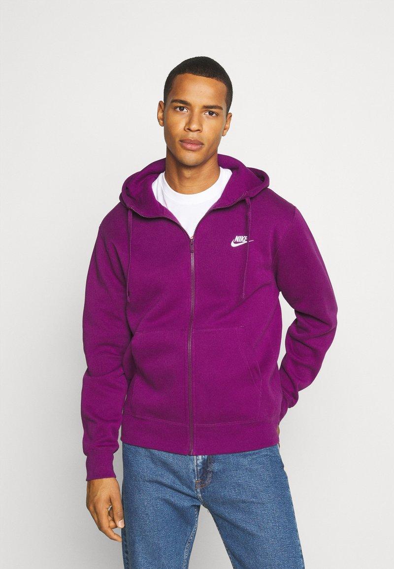 Nike Sportswear - CLUB HOODIE - Zip-up sweatshirt - viotech/viotech/white