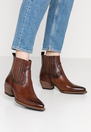 Cowboy/biker ankle boot - old iron cognac