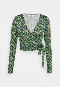 Glamorous - WRAP CROPPED TOP WITH LONG SLEEVES PLUNGING NECKLINE - Blouse - green - 0