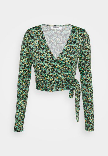 WRAP CROPPED TOP WITH LONG SLEEVES PLUNGING NECKLINE