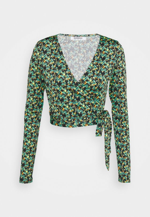 WRAP CROPPED TOP WITH LONG SLEEVES PLUNGING NECKLINE - Blouse - green