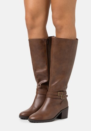 WIDE FIT HEELED LONG BOOT - Boots - brown