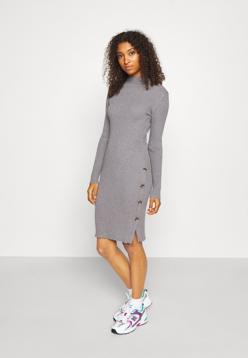 Vila - VISOLTO BUTTON DRESS - Robe fourreau - medium grey melange