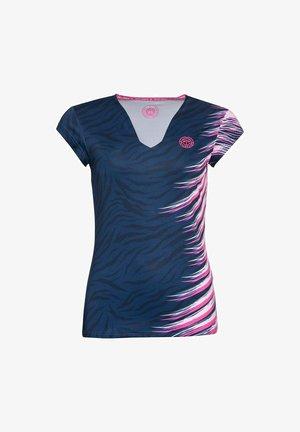 Print T-shirt - dunkelblau/pink
