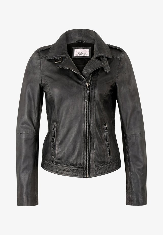 IN TRENDIGEM LOOK - Leather jacket - anthra