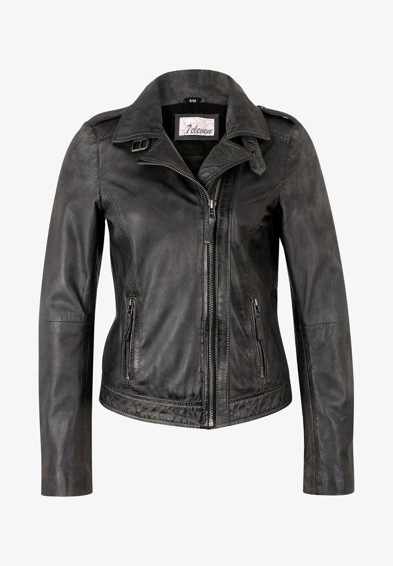 7eleven - IN TRENDIGEM LOOK - Leather jacket - anthra