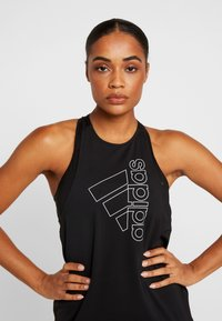 adidas Performance - TECH BOS TANK - Sportshirt - black/white