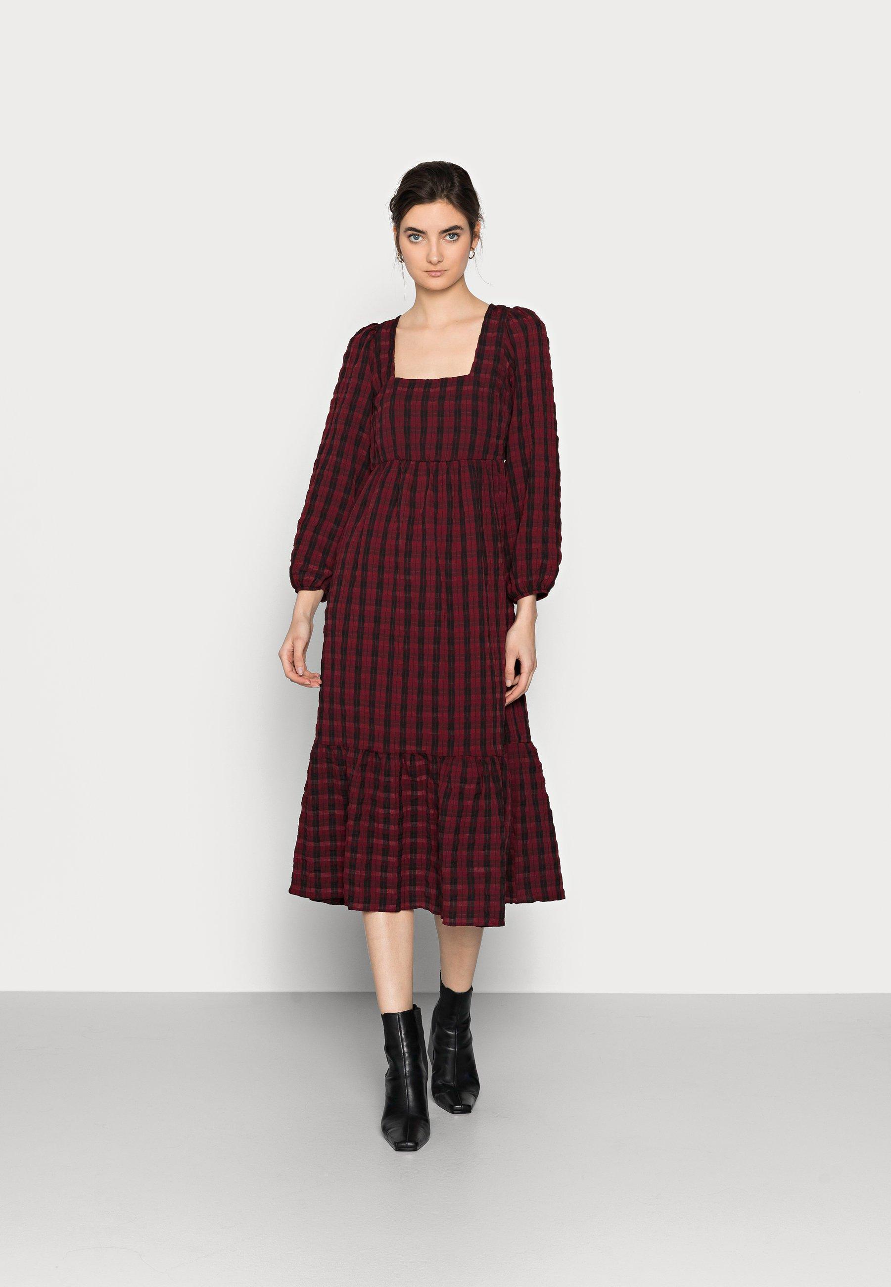 Women CHECK SEERSUCKER SMOCK MIDI - Day dress - red pattern
