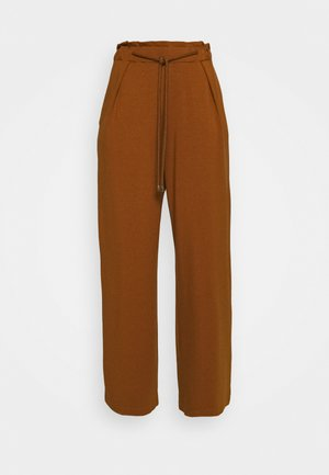 WIDE LEG JOGGER WITH ROPE TIE - Teplákové kalhoty - brown