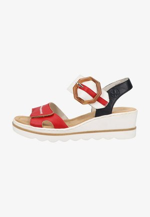 Wedge sandals - rosso/weiss/pazifik