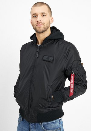 HOODED - Bomber Jacket - black