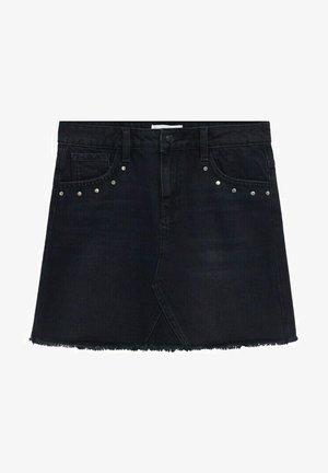 MIT NIETENVERZIERUNG - Denim skirt - black denim