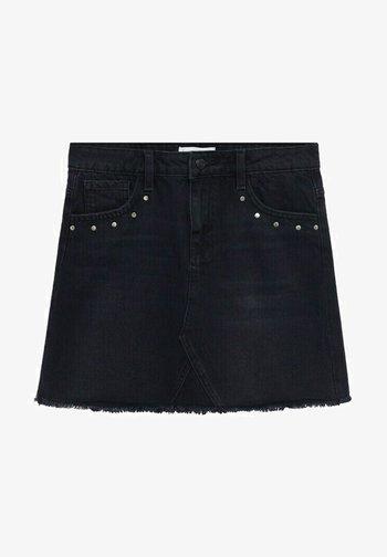 MIT NIETENVERZIERUNG - Denimová sukně - black denim