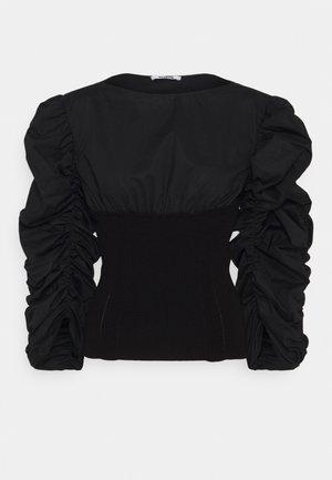 RUFFLE BLOUSE - Langarmshirt - black