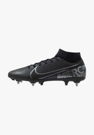 MERCURIAL 7 ACADEMY SG-PRO AC - Screw-in stud football boots - black/metallic cool grey/cool grey