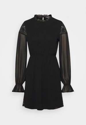 INSERT FRILL NECK DRESS - Sukienka letnia - black