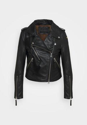 LEATHER BIKER LEO LINING - Leren jas - black