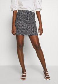 Dorothy Perkins - PRINT MINI - A-line skirt - black - 0